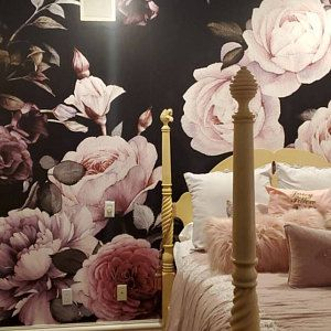 Foggy Forest Wallpaper Mural Peel And Stick Wall Paper Etsy Black Floral Wallpaper Large Floral Wallpaper Large Flower Wallpaper