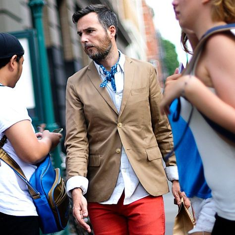 """Red trousers and a polka dot neck scarf, playful style for summer #Mensfashion #Menstyle #Menswear (Source: Style for men)"""