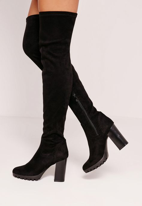 Missguided - Black Faux Suede Cleated Over The Knee Heeled Boots