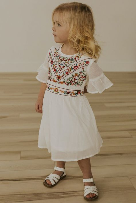 Prepare to fall madly in love with the Mini DeMille Embroidery Dress! With its elegant embroidery, this dress stands out from the rest. Featuring a loose, flowy fit and a zipper back closure, it is perfect for any occasion. Check out the DeMille Embroidered Dress for a mommy and me match you'll both love! Shop the rest of the Collection: Mommy + Me Fully lined Available in Grey, Red, Black, and White Bohemian Flower Girl Dress, Fall Flower Girl, Flower Girl Tutu, Toddler Flower Girl Dresses, Little Girl Dresses, Toddler Dress, Flower Girl Outfits, Vintage Flower Girl Dresses, Baby Wedding Outfit Girl