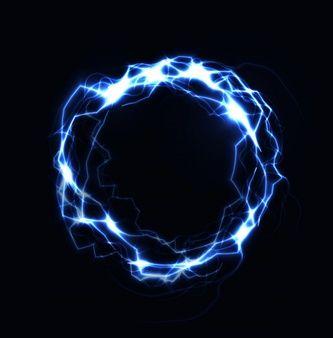 Realistic Lightning Ring Energy Ball Magic Sphere Blue Color Plasma On Dark Background Isolated Illustration Lightning Ring Neon Blue Background Energy Balls