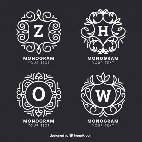 Set Of Four Hand Drawn Monograms