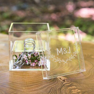 Custom Wedding Rings The bride and groom's initials are engraved above to ivy branches on the Woodland Pretty his and hers clear acrylic wedding ring box. Ideal for a romantic woodland wedding - Ring Bearer Pillows, Ring Bearer Box, Ring Bearer Ideas, Ring Pillow Wedding, Wedding Ring Box, Wedding Notes, Gift Wedding, Bouquet Wedding, Wedding Things