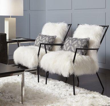 Ansel Chair Tibetan Fur Black Or Brass Metal Living Room Upholstery Furniture Upholstery Upholstery Cushions