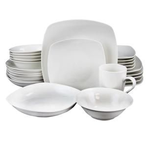 Gibson Hagen 30 Piece Casual White Porcelain Dinnerware Set Service For 6 98599968m The Home Depot In 2020 Square Dinnerware Set Ceramic Dinnerware Set White Dinnerware Set