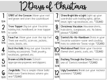 12 Days Of Christmas Countdown Outfits Dress Up Days Calendar Holiday Spirit Week School Spirit Week School Spirit Days
