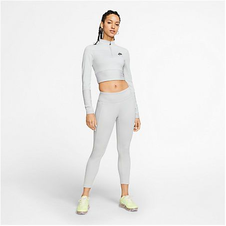 Nike Women S Air Ribbed Half Zip Long Sleeve Top In Grey In 2020 Long Sleeve Tops Nike Women Women