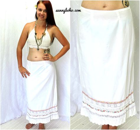 9ffa29604ca68 White lace boho skirt M bohemian cotton beach skirt white lace ...