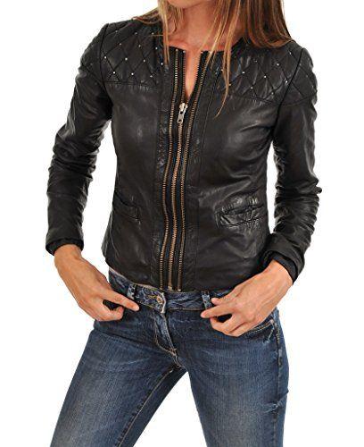 Leather Market Womens 100/% Lambskin Leather Bomber Biker Jacket outfit