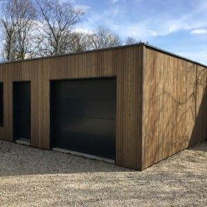 Garage Ossature Bois Sur Mesure De Qualite Garage Bois Double En Kit Garage Prefabrique Garage Bois Garage Toit Plat