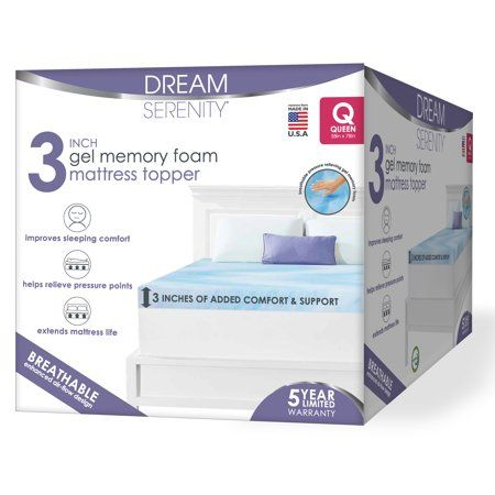 Dream Serenity Gel Memory Foam 3 Mattress Topper 1 Each King Walmart Com In 2020 Gel Memory Foam Gel Memory Foam Mattress Mattress Topper