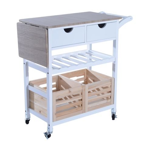 Homcom 34 Rolling Drop Leaf Kitchen Trolley Serving Cart
