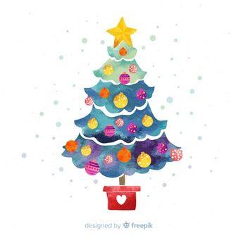 Dibujos De Arboles De Navidad Pintados.Fondo Con Arbol De Navidad En Acuarela Navidad En 2019