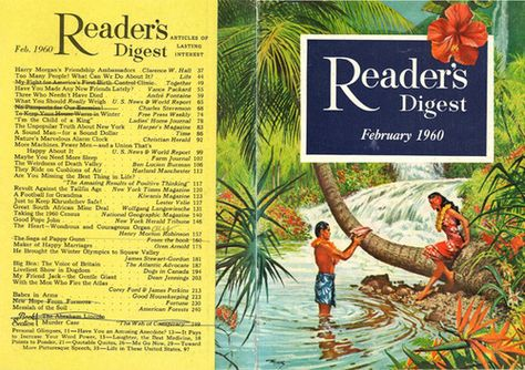 """Reader's Digest front and back cover, February 1960  Illustration: """"Mountain Pool, Hawaii"""" by Frank McCarthy  Frank McCarthy was a prolific American artistand realist painterrenowned for advertisements, magazine artwork, bookcovers, film posters, and paintings of the American West. He was born in New York City and studied at the Art Students League of New York and then attended the Pratt Institute in Brooklyn. He began his art career as a commercial illustrator by opening his"""
