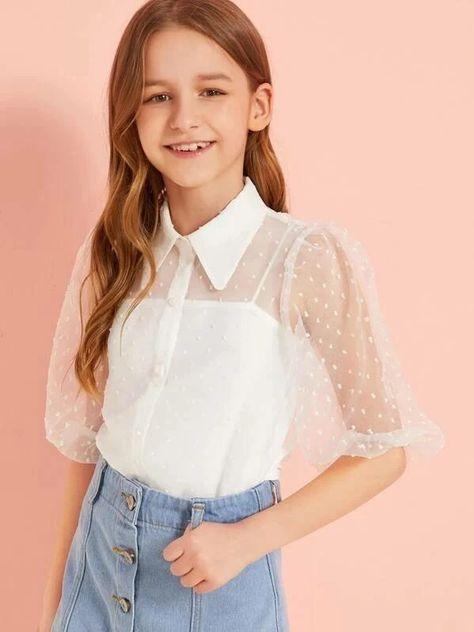 Girls Mesh Puff Sleeve Chiffon Top With Cami - - Girls Mesh Puff Sleeve Chiffon Top With Cami – kidenhome Source by vincent_cassigneul