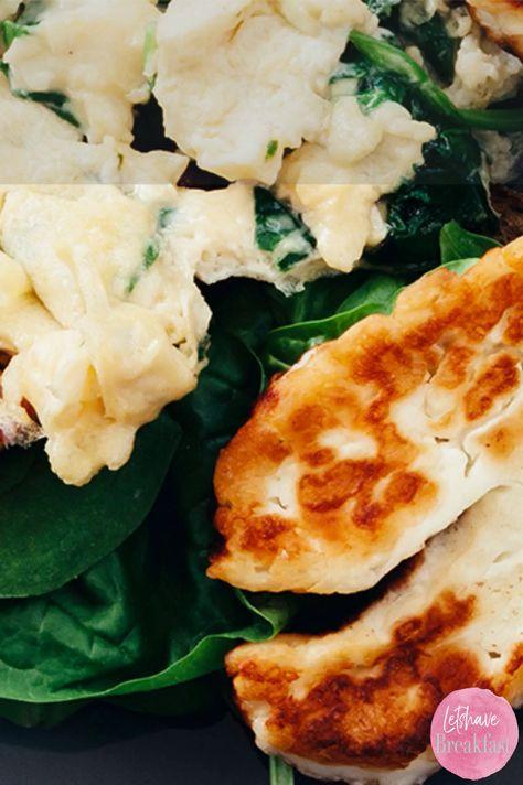 Rührei mit Halloumi, Spinat und Mandeln zum Frühstück