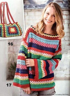 Crochelinhasagulhas Blusa Colorida Em Croche Com Imagens