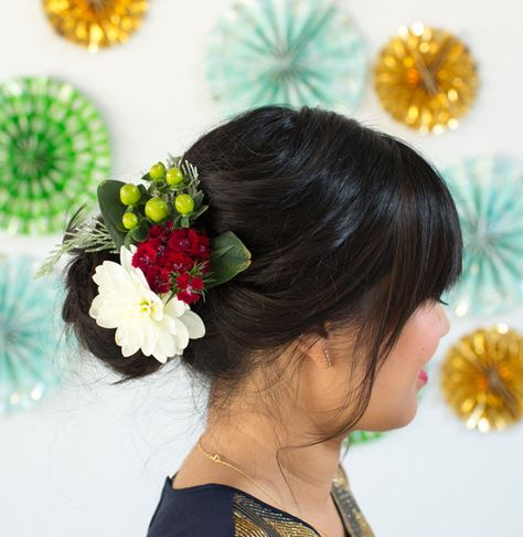 a holiday floral updo