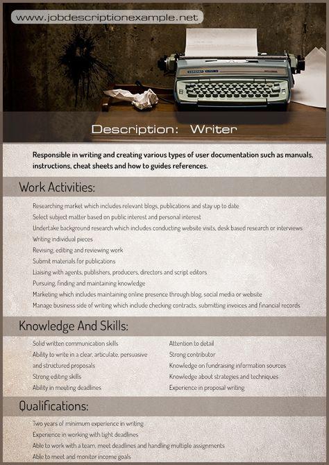 Pin by MarkWilliam on Job description example Pinterest Job - management job description