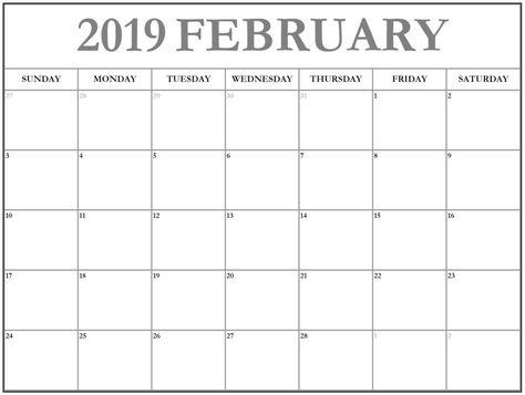 February 2019 Calendar A4 Printable Template December 2018 Calendar