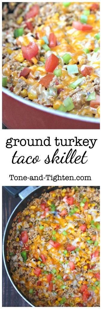 Loaded with protein and super easy to throw together! Ground Turkey Taco Skillet on Tone-and-Tighten.com
