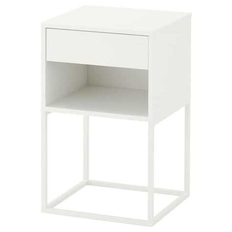 Vikhammer Table Chevet Noir 40x39 Cm Chevet Blanc Table De Chevet Blanche Et Table De Chevet