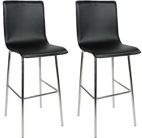 Excellent Pair Gilling Chrome And Padded Kitchen Breakfast Bar Stools Dailytribune Chair Design For Home Dailytribuneorg