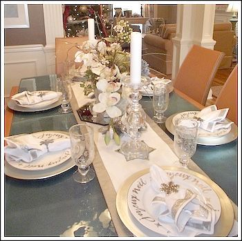 Silver And Champagne Gold Christmas Tablescape Image Christmas Table Christmas Table Settings Christmas Decorations