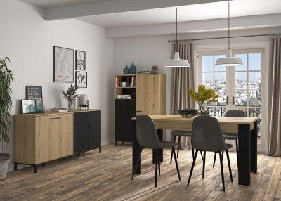 Table L 160 200 Rectangulaire Trust Chene Noir Mobilier De Cuisine Buffet Haut Mobilier Salon