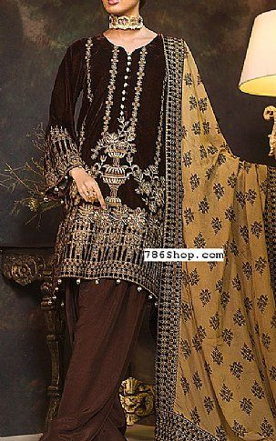 Trendy Dark Brown Pure Velvet Designer Salwar Kameez Which Is Adorned With Zari Embroidery Work On The Yoke A Fashion Party Wear Dresses Latest Dress For Women