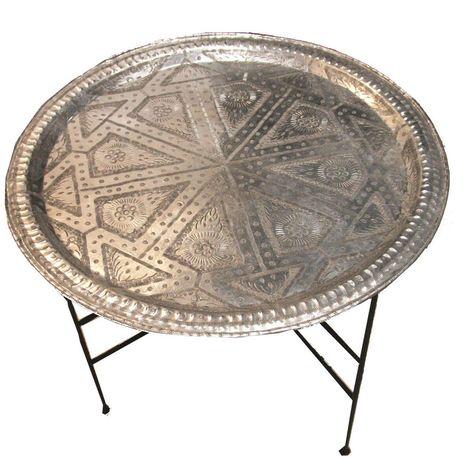 Moroccan Aluminum Round Tray with Stand Tea Table Moroccan Home Decor, Moroccan Interiors, Moroccan Art, Moroccan Design, Moroccan Style, Small Coffee Table, Great Coffee, Coffee Tables, Tea Tables