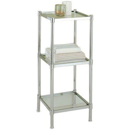 Organize It All 4 Tier Tempered Glass Freestanding Bathroom Storage Tower