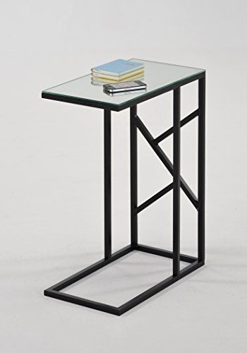 Mirrored Glass Top Black Metal Finish Snack Side End Table Abstract Design Coffee Table Table Nesting Tables