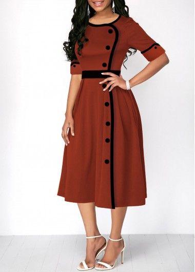 Fall Long Sleeve Patchwork Temperament V-Neck Belt Button Women/'s Office Dresses