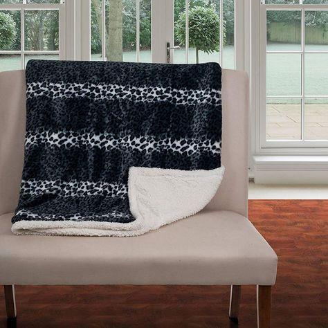 Fleece//Sherpa Silver Stars Lavish Home Throw Blanket