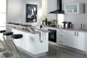 Cuisine Blanche Avec Hotte Noire Cuisines Design Mobilier