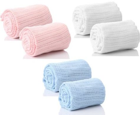 Cellular Blanket Soft Pure 100/% Cotton Baby Comfort Newborn White Pack Of 2