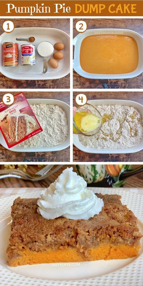 Pumpkin Pie Dump Cake - Pumpkin Pie Dump Cake – Instrupix The Effective Pictures We Offer You About paleo recipes A qual - Mini Desserts, Holiday Desserts, Just Desserts, Delicious Desserts, Thanksgiving Desserts, Cake Mix Desserts, Thanksgiving Sides, Health Desserts, Dump Cake Recipes