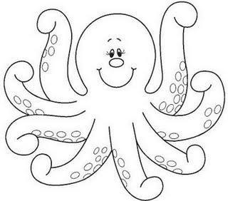 Sea Animals Happy 7 Legged Octopus Sea Animals Coloring Page
