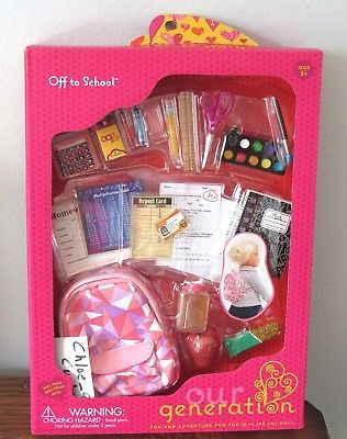 "Our Generation 18/"" Girl Doll Math Whiz School Play Set Off Package"
