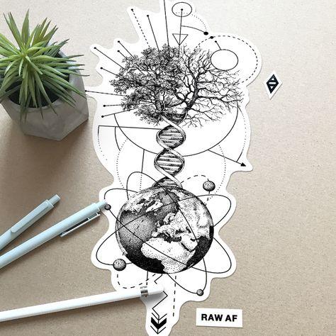 THE TREE - of life and death - dotwork geometric galaxy tree of life deed . Dna Tattoo, Tattoo Life, Dotwork Tattoo Mandala, Body Art Tattoos, Sleeve Tattoos, Tree Of Life Tattoos, Biology Tattoo, Flower Of Life Tattoo, Galaxy Tattoos