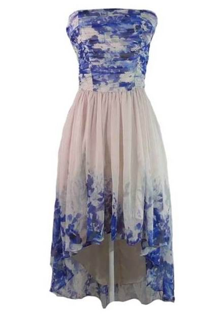 Blue and White Draped High Low Dress