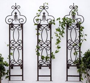 Metal Iron Scroll Trellis Set Of 3 With Wall Mounting Brackets In