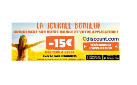 15 de réduction dès 150 dachat sur tout le site CDiscount [CA FINI CE SOIR] Bonjour  Bon plan chez CDiscount 15 de réduction dès 150 dachat dépêchez vous ça se termine ce soir !  Valable sur tous les produits vendus par CDsicount en passant par le site mobile (via unsmartphoneune tablette) ou lapplication.  Accèdez au site CDiscount ICI  Code promo pourle site mobile:JEGAGNE15  Code promo pour les appareils Android : JECRAQUE15  Code promo pour les appareilsIOS:JEFONCE15    Lien vers le site…