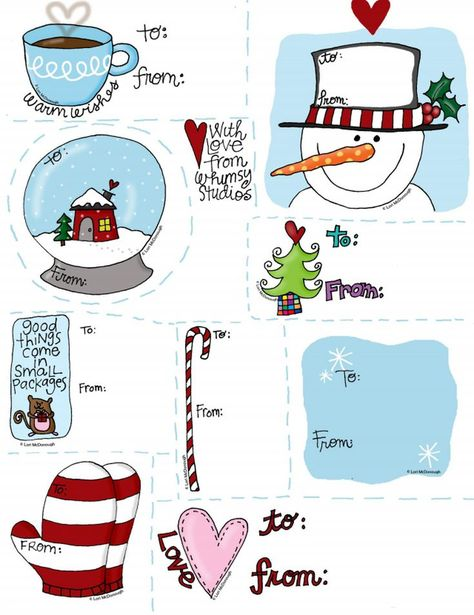 41 Sets of Free Printable Christmas Gift Tags: Happy Holidays Printable Gift Tags by Fresh Picked Whimsy
