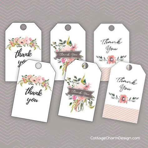 Thank You Gift Tag Printable, Watercolor Flower Gift Tags, Instant Download