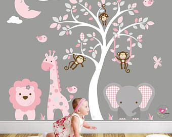 LARGE JUNGLE FOREST WALL STICKERS FOR CHILDREN BEDROOM DECOR DECAL FREE POSTAGE