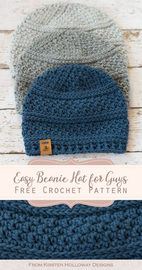 Seed Stitch Beanie Crochet Hat Pattern - Kirsten Holloway Designs - - Keep the men in your home warm this winter with the quick and simple seed stitch beanie. The free crochet pattern comes in 4 sizes to fit women and kids. Mens Crochet Beanie, Easy Crochet Hat, Crochet For Boys, Knit Or Crochet, Crochet Scarves, Crochet Crafts, Free Crochet, Knit Hats, Crochet Hat For Men