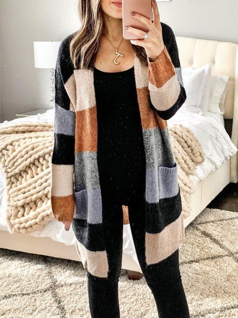 Apricot Knitted Long Sleeve Plus Size Outerwear – comfyshe