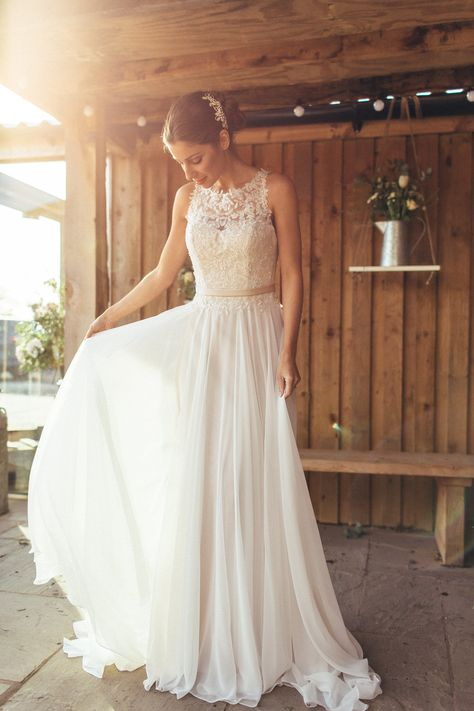 Floaty skirt with lace high neck fitted top wedding dress - Image by Lee Garland - The 2016 Promises Of Love Collection From Amanda Wyatt